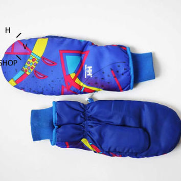 NOS Vintage Helly Hansen multicolor winter gloves / Mountain Ski Snowboarding Snow heated mittens / Unisex Blue purple geometric / 80s 90s