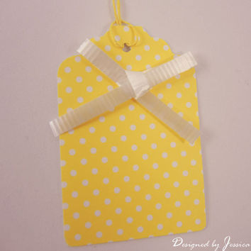 12 Handmade Gift Tag Bridal Shower, Wedding Favor, Birthday Gift, Vintage: Yellow Dotted with white ribbon.