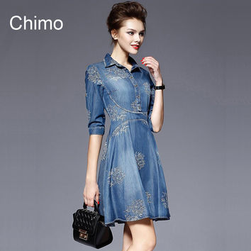 2016 Denim Dress Women Plus Size Half Sleeve Summer Dress Blue Denim Jeans Dress For   Women Ladies Casual Party Dress