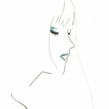 Print from original watercolor & pen fashion illustration by Lexi Rajkowski - titled A Tint of Blue