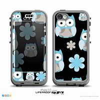 The Multicolored Shy Owls Pattern on Black Skin for the iPhone 5c nüüd LifeProof Case
