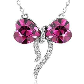 Heart Butterfly Necklace PLATO H 925 Sterling Silver Butterfly Heart Pendant Necklace Love Bowknot Pendant Necklace With Swarovski Crystal Fashion Necklace for Woman Girls, Christmas Day Gifts