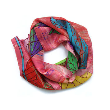 Lightweight Silk Scarf, Pink Scarf, Designer Scarves, Summer Accessories, Silk Scarves UK