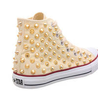 Studded Converse, Converse Cream High Top with Gold Cone Studs by CUSTOMDUO on ETSY