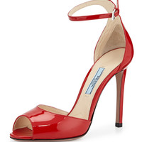Open-Toe Patent Leather Sandal, Rosso - Prada