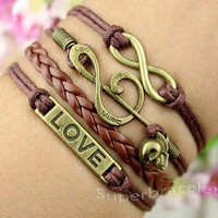 Friendship LOVE bracelet - tan notes - infinity bracelet - brown leather cord bracelet - gift for girlfriend and BFF