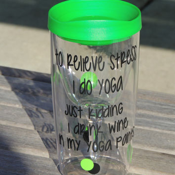 Yoga Cup, vino2go tumbler, acrylic tumbler, wine to go tumbler, stocking stuffer, personalized tumbler, plastic wine cup, monogrammed cup