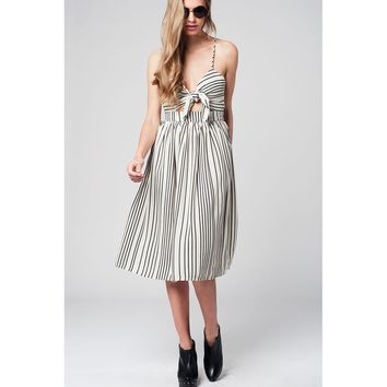 Stripe bow midi dress in beige