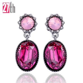27th Trendy Zinc Alloy Glass Stud Earrings Women E1588