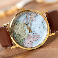 World map watches, women wristwatches, unisex watches, men watch, leather watches, fashion watches Gift