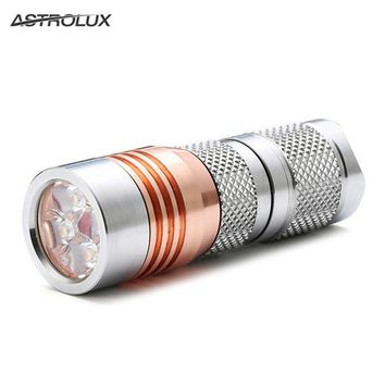 Astrolux S41S Stainless Steel Mini 4 7modes 1600LM 4x Nichia 219B XP-G3 G2 A6 LED Flashlight 18350 16340 torch+Clip+Lanyard
