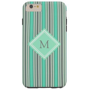 Classy Mint and Gray Vertical Stripes Monogram Tough iPhone 6 Plus Case