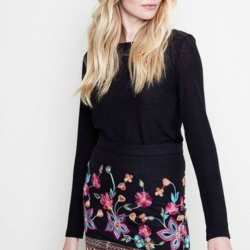Harbor Embroidered Mini Skirt