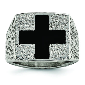 Stainless Steel Textured Black Enameled Cross Ring