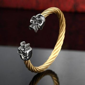 Viking Skull Bangles & Bracelets For Men 316L Stainless Steel Gold Black Color Twisted Wire Cable Male Jewelry 2017 New Arrivals