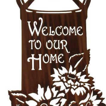 Milk Can with Sunflowers Welcome Sign