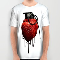 Heart Grenade All Over Print Shirt by Nicklas Gustafsson