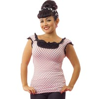 "Women's ""Red Dot"" French Top by Pinky Pinups (White)"