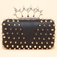 A'GACI Flat-Top Studded Spike Handle Clutch - HANDBAGS + WALLETS