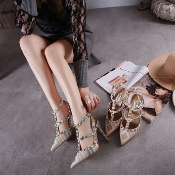 Striped High Heel Colorful Pointed Toe Multi-color Stripes Rivet Shoes = 4804980612