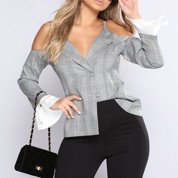Leanne Cold Shoulder Top - Black/White