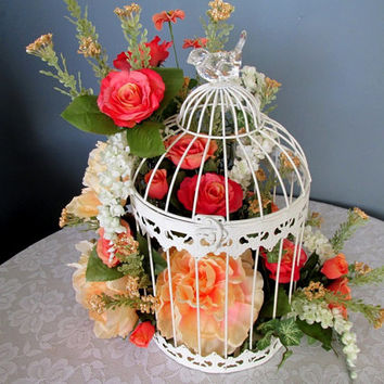 Floral Arrangement / Spring Floral / Summer floral / Floral In Bird Cage / Peach And White Floral / Table Top Floral / Centerpiece Floral