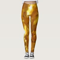 Golden abstract soft leaf pattern leggings
