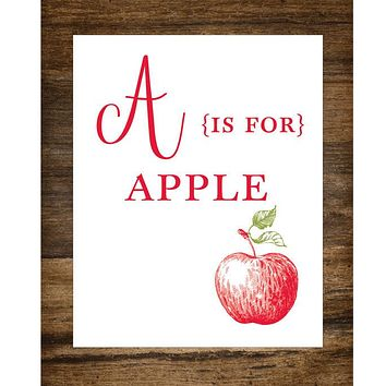 "A is for Apple Kids Playroom 8"" x 10"" Wall Print"