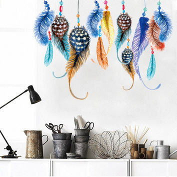 fantastic flying feathers wall stickers colorful room decorations 0001. creative gift home decals print mural art diy poster 4.5 SM6