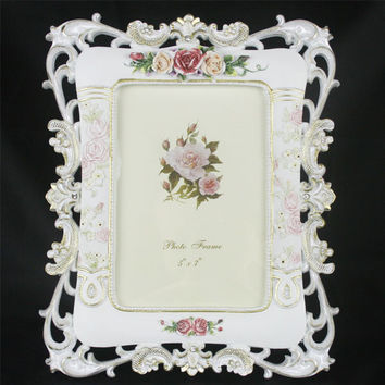 Retro Vintage Rose Flower White Home Decor Photo Frame Picture Frame Resin 5''*7''