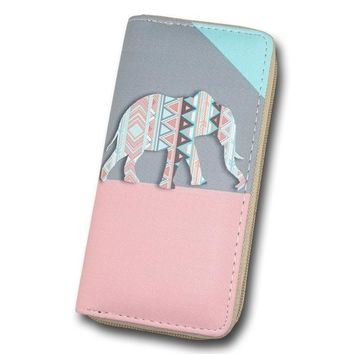 Elephant Leather Zipper Long Wallet