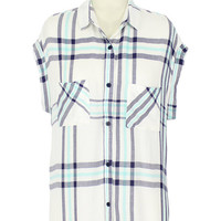 Rails Britt S/S Button Down Shirt in White/Navy/Mint