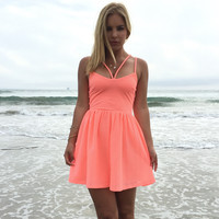 Honeycomb Skater Dress In Neon Coral