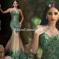 Nkeru Couture Mermaid Prom Dress With See Through Back Trumpet With Sleeveless JJ87