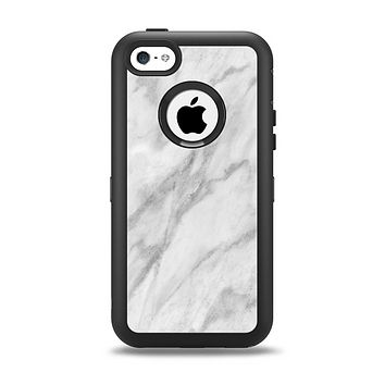 The White Marble Surface Apple iPhone 5c Otterbox Defender Case Skin Set