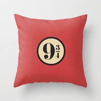 Platform Nine and Three Quarters Throw Pillow by Ramin Design Shop