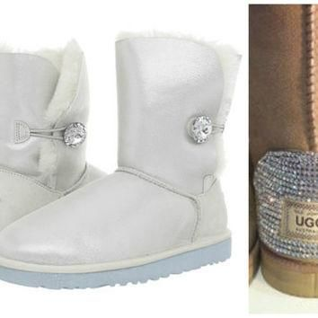 Swarovski Crystal Embellished Limited Edition Bailey Button Uggs - Winter / Holiday Bl