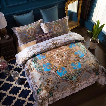 Cool 100S Egyptian Cotton Bed cover set Luxury Bohemia Mandala Bedding set Queen King size 4Pcs Duvet cover Bed sheet set PillowcasesAT_93_12