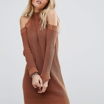 Abercrombie & Fitch Cold Shoulder Knit Jumper Dress at asos.com