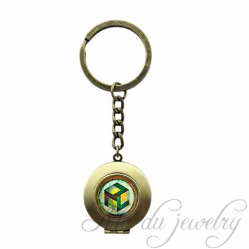 Sacred Geometry Antahkarana Symbol Locket Pendant Key Chain Ring Chakra Keychain Meditation Key Chains Jewelry For Women Men