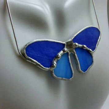 Butterfly Necklace, Stained Glass Necklace, Stained Glass Butterfly, Stained Glass Jewelry, Blue Butterfly Necklace with Crystal Point