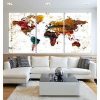 Extra large wall art colorful Push Pin world map wall art 3 panel push pin travel world map canvas modern office wall decor, framed  hr88