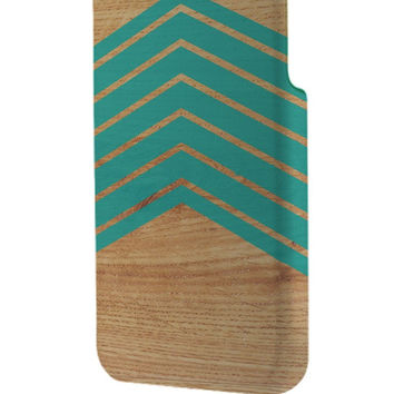 Best 3D Full Wrap Phone Case - Hard (PC) Cover with Wood with mint chevron Design