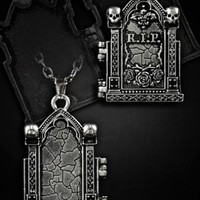 Tombstone Locket Pendant Necklace