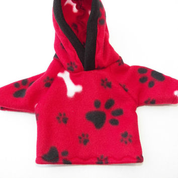 "Bitty Baby Doll Clothes Twin Girl, Boy, or Baby Doll 15"" American Girl Red Black White Dog Bone Paw Print Hoodie Hooded Sweatshirt Jacket"
