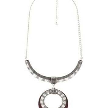 Silver Etched Metal & Wood Statement Necklace by Charlotte Russe