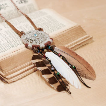 Statement Talisman Necklace, Native American Inspired Dreamcatcher Object
