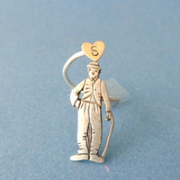 Silver Charlie Chaplin personalized initial ring, adjustable ring