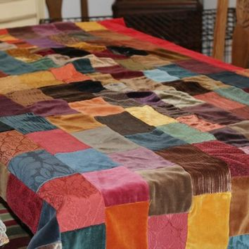 "Vintage Patchwork Quilt Velvet & Upholstery Scraps | Small Pieced Quilt or Throw Multi Color 64"" x 44.5"" 