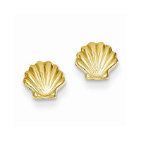 14k Yellow Gold Polished Shell Post Earrings